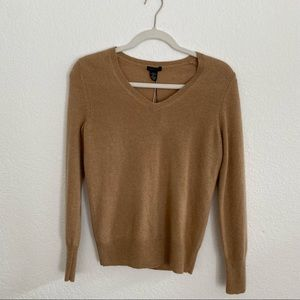 NWT ONLY MINE Womens Soft 100% Cashmere Tan Long-sleeve V Neck Sweater Top